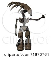 Bot Containing Flat Elongated Skull Head And Light Chest Exoshielding And No Chest Plating And Light Leg Exoshielding And Stomper Foot Mod Light Brown Halftone Pointing Left Or Pushing A Button