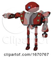 Droid Containing Oval Wide Head And Giant Blue And Red Led Eyes And Heavy Upper Chest And Heavy Mech Chest And Green Cable Sockets Array And Ultralight Foot Exosuit Cherry Tomato Red