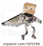 Bot Containing Dual Retro Camera Head And Cardboard Box Head And Light Chest Exoshielding And Blue Energy Core And Cherub Wings Design And Ultralight Foot Exosuit Halftone Sketch