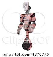 Cyborg Containing Humanoid Face Mask And Slashes War Paint And Light Chest Exoshielding And Blue Energy Core And Unicycle Wheel Toon Pink Tint Facing Right View