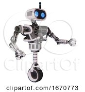 Robot Containing Dual Retro Camera Head And Cute Retro Robo Head And Bug Eyes And Heavy Upper Chest And No Chest Plating And Unicycle Wheel White Halftone Toon Interacting