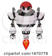 Automaton Containing Grey Alien Style Head And Black Eyes And Red Helmet And Heavy Upper Chest And Jet Propulsion White Halftone Toon Front View