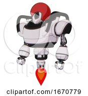 Automaton Containing Grey Alien Style Head And Black Eyes And Red Helmet And Heavy Upper Chest And Jet Propulsion White Halftone Toon Standing Looking Right Restful Pose