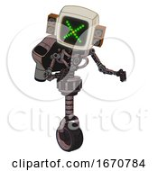 Automaton Containing Old Computer Monitor And Pixel X And Old Retro Speakers And Light Chest Exoshielding And Rocket Pack And No Chest Plating And Unicycle Wheel Dusty Rose Red Metal