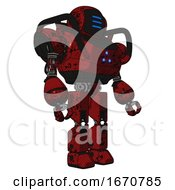 Android Containing Digital Display Head And Three Horizontal Line Design And Heavy Upper Chest And Triangle Of Blue Leds And Prototype Exoplate Legs Grunge Dots Dark Red Facing Left View