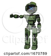 Automaton Containing Digital Display Head And Wince Symbol Expression And Green Led Array And Light Chest Exoshielding And Chest Green Blue Lights Array And Prototype Exoplate Legs