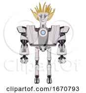 Android Containing Humanoid Face Mask And War Paint And Heavy Upper Chest And Heavy Mech Chest And Blue Energy Fission Element Chest And Ultralight Foot Exosuit White Halftone Toon Front View