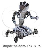 Automaton Containing Green Dot Eye Corn Row Plastic Hair And Heavy Upper Chest And No Chest Plating And Insect Walker Legs Blue Tint Toon Fight Or Defense Pose
