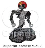Mech Containing Grey Alien Style Head And Black Eyes And Triangle Design And Red Helmet And Heavy Upper Chest And No Chest Plating And Tank Tracks Patent Concrete Gray Metal Hero Pose