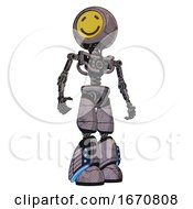 Droid Containing Round Head Yellow Happy Face And Light Chest Exoshielding And No Chest Plating And Light Leg Exoshielding And Megneto Hovers Foot Mod Dark Dirty Scrawl Sketch Hero Pose