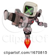 Mech Containing Old Computer Monitor And Pixel X And Light Chest Exoshielding And Red Energy Core And Stellar Jet Wing Rocket Pack And Jet Propulsion Grayish Pink Fight Or Defense Pose