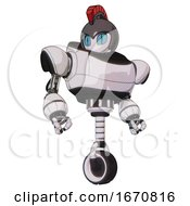Automaton Containing Grey Alien Style Head And Blue Grate Eyes And Galea Roman Soldier Ornament And Gray Helmet And Heavy Upper Chest And Unicycle Wheel White Halftone Toon Hero Pose