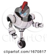 Automaton Containing Grey Alien Style Head And Blue Grate Eyes And Galea Roman Soldier Ornament And Gray Helmet And Heavy Upper Chest And Unicycle Wheel White Halftone Toon Fight Or Defense Pose