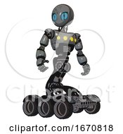 Robot Containing Grey Alien Style Head And Blue Grate Eyes And Light Chest Exoshielding And Yellow Chest Lights And Six Wheeler Base Patent Concrete Gray Metal Hero Pose