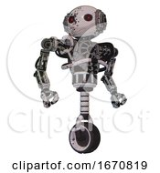 Mech Containing Oval Wide Head And Small Red Led Eyes And Steampunk Iron Bands With Bolts And Heavy Upper Chest And No Chest Plating And Unicycle Wheel Grunge Sketch Dots Hero Pose