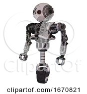 Mech Containing Oval Wide Head And Small Red Led Eyes And Steampunk Iron Bands With Bolts And Heavy Upper Chest And No Chest Plating And Unicycle Wheel Grunge Sketch Dots