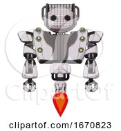 Robot Containing Oval Wide Head And Barbed Wire Visor Helmet And Heavy Upper Chest And Heavy Mech Chest And Green Cable Sockets Array And Jet Propulsion White Halftone Toon Front View