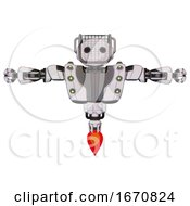 Robot Containing Oval Wide Head And Barbed Wire Visor Helmet And Heavy Upper Chest And Heavy Mech Chest And Green Cable Sockets Array And Jet Propulsion White Halftone Toon T Pose