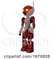 Bot Containing Oval Wide Head And Yellow Eyes And Retro Antenna With Light And Light Chest Exoshielding And Ultralight Chest Exosuit And Prototype Exoplate Legs Cherry Tomato Red Facing Right View