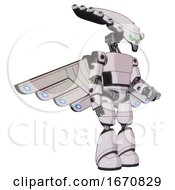 Mech Containing Flat Elongated Skull Head And Light Chest Exoshielding And Prototype Exoplate Chest And Cherub Wings Design And Light Leg Exoshielding White Halftone Toon Facing Left View