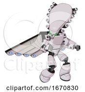 Mech Containing Flat Elongated Skull Head And Light Chest Exoshielding And Prototype Exoplate Chest And Cherub Wings Design And Light Leg Exoshielding White Halftone Toon Fight Or Defense Pose