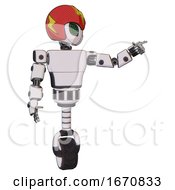 Android Containing Grey Alien Style Head And Led Array Eyes And Lightning Bolts And Red Helmet And Light Chest Exoshielding And Prototype Exoplate Chest And Unicycle Wheel White Halftone Toon