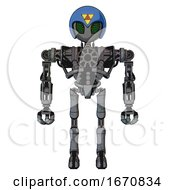 Robot Containing Grey Alien Style Head And Led Array Eyes And Triangle Design And Blue Helmet And Heavy Upper Chest And No Chest Plating And Ultralight Foot Exosuit Patent Concrete Gray Metal