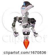 Automaton Containing Flat Elongated Skull Head And Visor And Heavy Upper Chest And No Chest Plating And Jet Propulsion White Halftone Toon Hero Pose