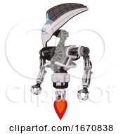 Automaton Containing Flat Elongated Skull Head And Visor And Heavy Upper Chest And No Chest Plating And Jet Propulsion White Halftone Toon Standing Looking Right Restful Pose