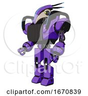 Poster, Art Print Of Droid Containing Bird Skull Head And Yellow And Green Scope Eyes And Head Shield Design And Heavy Upper Chest And Chest Vents And Blue Strip Lights And Prototype Exoplate Legs