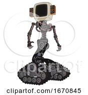 Cyborg Containing Old Computer Monitor And Old Retro Speakers And Light Chest Exoshielding And No Chest Plating And Tank Tracks Grayish Pink Hero Pose