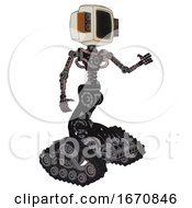 Cyborg Containing Old Computer Monitor And Old Retro Speakers And Light Chest Exoshielding And No Chest Plating And Tank Tracks Grayish Pink Interacting
