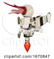 Automaton Containing Bright Red Jellyfish Tentacles Fiber Optic Design and Light Chest Exoshielding and Prototype Exoplate Chest and Stellar Jet Wing Rocket Pack and Jet Propulsion. off White Toon. by Leo Blanchette #COLLC1670847-0020