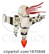 Automaton Containing Bright Red Jellyfish Tentacles Fiber Optic Design and Light Chest Exoshielding and Prototype Exoplate Chest and Stellar Jet Wing Rocket Pack and Jet Propulsion. off White Toon. by Leo Blanchette #COLLC1670848-0020