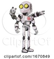 Robot Containing Round Head and Large Yellow Eyes and Light Chest Exoshielding and Red Chest Button and Minigun Back Assembly and Ultralight Foot Exosuit. White Halftone Toon. Hero Pose. by Leo Blanchette #COLLC1670849-0020