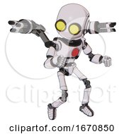 Robot Containing Round Head And Large Yellow Eyes And Light Chest Exoshielding And Red Chest Button And Minigun Back Assembly And Ultralight Foot Exosuit White Halftone Toon Fight Or Defense Pose