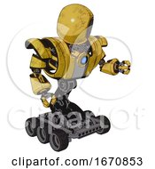 Cyborg Containing Round Head And Heavy Upper Chest And Heavy Mech Chest And Blue Energy Fission Element Chest And Six Wheeler Base Construction Yellow Halftone Fight Or Defense Pose