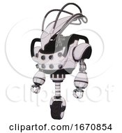 Droid Containing Flat Elongated Skull Head And Cables And Heavy Upper Chest And Chest Energy Sockets And Unicycle Wheel White Halftone Toon Standing Looking Right Restful Pose