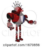 Robot Containing Oval Wide Head And Red Horizontal Visor And Techno Halo Ornament And Heavy Upper Chest And Blue Shield Defense Design And Ultralight Foot Exosuit Dark Red Interacting