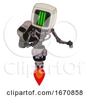 Bot Containing Old Computer Monitor And Three Lines Pixel Design And Light Chest Exoshielding And Rocket Pack And No Chest Plating And Jet Propulsion Gray Metal Fight Or Defense Pose