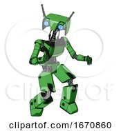 Droid Containing Dual Retro Camera Head And Cyborg Antenna Head And Light Chest Exoshielding And Ultralight Chest Exosuit And Prototype Exoplate Legs Secondary Green Halftone Fight Or Defense Pose