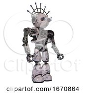Droid Containing Oval Wide Head And Telescopic Steampunk Eyes And Techno Halo Ornament And Heavy Upper Chest And No Chest Plating And Light Leg Exoshielding Grunge Sketch Dots Facing Left View