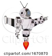 Droid Containing Digital Display Head And Wince Symbol Expression And Retro Antennas And Light Chest Exoshielding And Prototype Exoplate Chest And Stellar Jet Wing Rocket Pack And Jet Propulsion