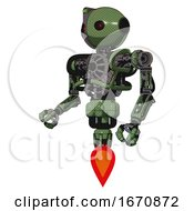 Cyborg Containing Oval Wide Head And Small Red Led Eyes And Green Led Ornament And Heavy Upper Chest And No Chest Plating And Jet Propulsion Grass Green Facing Right View