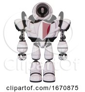 Android Containing Cable Connector Head And Heavy Upper Chest And Red Shield Defense Design And Light Leg Exoshielding White Halftone Toon Front View