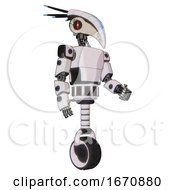 Android Containing Bird Skull Head And Red Line Eyes And Head Shield Design And Light Chest Exoshielding And Prototype Exoplate Chest And Unicycle Wheel White Halftone Toon Facing Left View