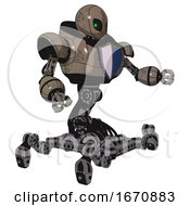 Droid Containing Grey Alien Style Head And Green Inset Eyes And Heavy Upper Chest And Blue Shield Defense Design And Insect Walker Legs Patent Khaki Metal Interacting