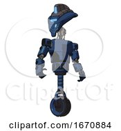 Robot Containing Flat Elongated Skull Head And Visor And Light Chest Exoshielding And Prototype Exoplate Chest And Unicycle Wheel Dark Blue Halftone Hero Pose