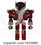 Cyborg Containing Digital Display Head And Circle Eyes And Winglets And Heavy Upper Chest And Heavy Mech Chest And Green Cable Sockets Array And Prototype Exoplate Legs Grunge Dots Dark Red