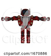 Cyborg Containing Digital Display Head And Circle Eyes And Winglets And Heavy Upper Chest And Heavy Mech Chest And Green Cable Sockets Array And Prototype Exoplate Legs Grunge Dots Dark Red T Pose
